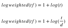 Logarithmic TF in mathematical notation